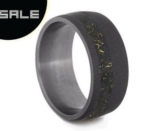 SALE - Milky Way or Galaxy Inspired Wedding Band, Black Stardust Ring With Sandblasted Titanium, Enamel Ring With Meteorite And Yellow Gold