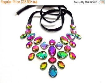 ON SALE Floating Rainbow Statement Necklace, Rhinestone Illusion Necklace, Floating Rhinestone Necklace, Illusion Jewelry, Iridescent Neckla