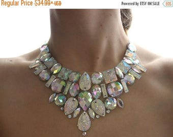 ON SALE Crystal AB Bridal Bib Necklace, Clear Ab Rhinestone Statement Necklace, Sparkly Rhinestone Bib Necklace, Jeweled Wedding Necklace