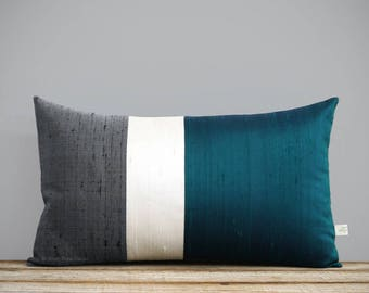 Silk Color Block Pillow Cover in Lagoon, Cream + Charcoal Gray by JillianReneDecor, Modern Home Decor, Deep Teal Jewel Tones, 12x20 or 20x20
