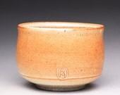 matcha chawan, ceramic tea bowl, handmade pottery bowl with orange shino glazes