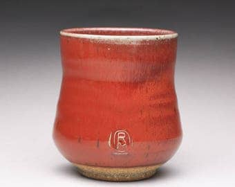 handmade pottery cup, ceramic tumbler, tea cup with bright red and green celadon glazes