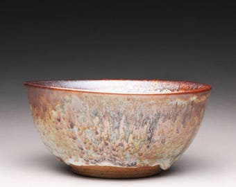 handmade pottery bowl, ceramic serving bowl, noodle bowl with carbon trap shino and white glazes