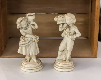 Vintage ABCO Alexander Backer Girl and Boy Statue Pair