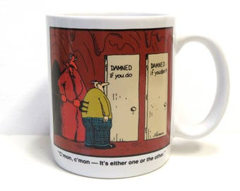 The Far Side Gary Larson Coffee Cup Mug/ Damned If You Do or Don't 1985