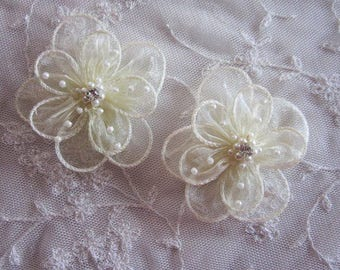 2 pc Pastel Yellow Organza flower applique w pearl bead crystal rhinestone for Hat Bridal Corsage Pin barrette headband hair accessory
