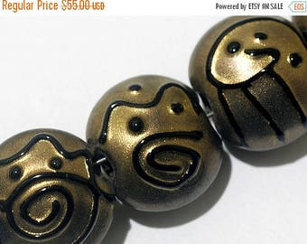30% OFF Glass Lampwork Bead Set - Seven Golden Pearl Surface w/Black Lentil Beads 11204802