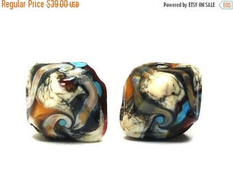 ON SALE 35% OFF Glass Lampwork Bead Sets  - Five Dark Brown Silver Ivory Bicone Beads 11605707