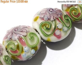 ON SALE 35% OFF Four Light Pink w/Blue Floral Lentil Beads - Handmade Glass Lampwork Bead Sets 11005412