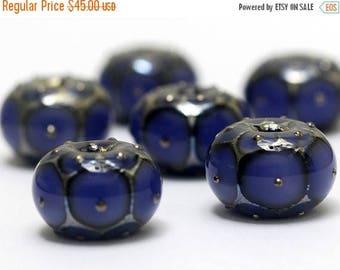 ON SALE 30% off Handmade Glass Lampwork Bead Set - Six Lavender w/Metal Dots Rondelle Beads 10407821