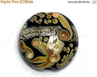 ON SALE 30% off Cheyenne Rock Lentil Focal Bead -11816102- Handmade Glass Lampwork Bead