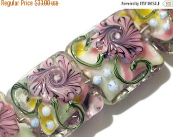 ON SALE 30% off Glass Lampwork Bead Set - Four Light Pink w/Blue Floral Pillow Beads 11005414
