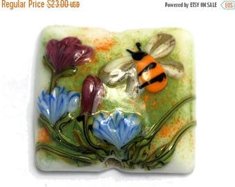 ON SALE 30% off Bumble Bee Garden Pillow Focal Bead - Handmade Glass Lampwork Bead 11830104