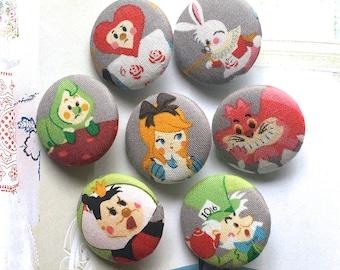 Handmade Kawaii Children Gray Grey White Alice In Wonderland Children Fabric Covered Buttons, Children Room Fridge Magnets, 1.25' 7's