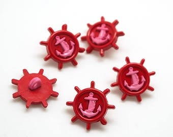 5 buttons pattern rudder - anchor - red and pink