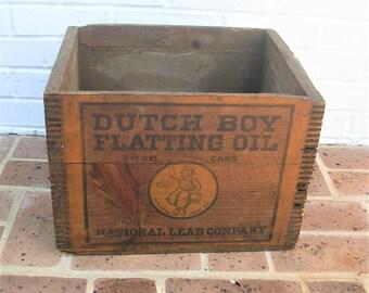 Antique Vintage Wood Wooden Box Antique Vintage Wood Wooden Crate Dutch Boy Flatting Oil Box Crate National Lead Company