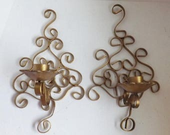 On Sale Pair Vintage Hollywood Regency gold sconces scrolled metal candle holders modern farmhouse decor