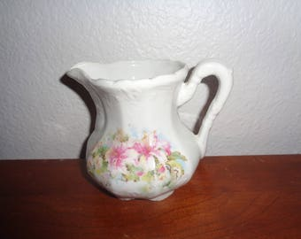 Vintage Porcelain Shabby Chic Creamer White with flowers