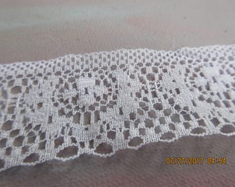 3 Yards, White Lace, 1.5 inches wide, Cotton Look Nylon Lace