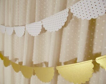 White and Gold Wedding Decor, Scalloped Garland, White and Gold Foil Polka Dot Paper Garland, Bridal Shower Decoration, Wedding Reception