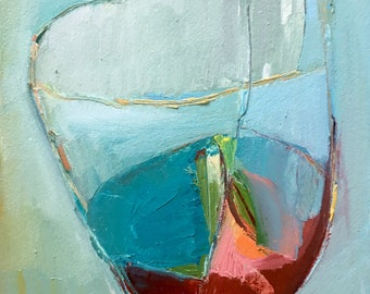 Abstract Vessel with blue flowers, Original oil painting on arches paper