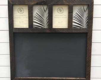 Rustic Chalkboard, chalkboard with 5x7 Picture frames, rustic wood chalkboard, wedding chalkboard sign, wedding decor, kitchen chalkboard