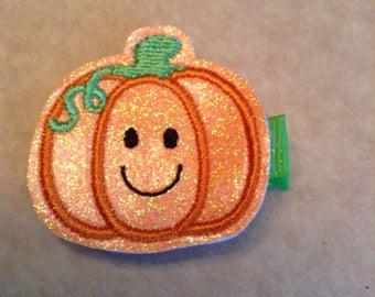 Embroidered Happy Pumpkin Halloween Hair Clip, Toddlers Hair Clippie, Girls Halloween Hair Bows, Orange & Green, Fall, Autumn  (Item 16-306)