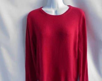 Vintage 90s 100% Cashmere Sweater Size L Lipstick Red Scoop Neck Neiman Marcus