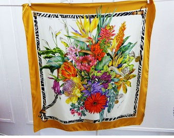 Vintage Hunting World Scarf 100% Silk African Flowers 34 X 35 square Mustard Vtg