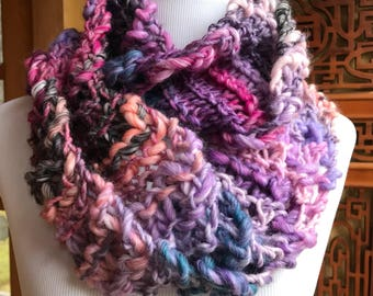 Hand knit Infinity Circular Scarf in Pinks and Purples