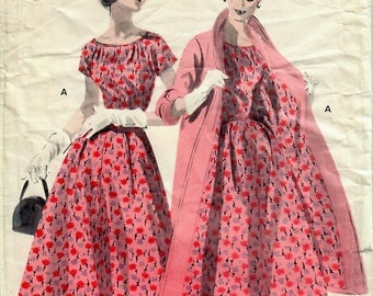 1950s Butterick 7647 Vintage Sewing Pattern Misses Full Skirt Dress, One Piece Dress, Tent Coat Size 12 Bust 30