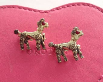 Vintage 1960 60s Two Matching Poodle Diamente Sweater Pins, Brooch, Poodle Pin Rockabilly Pin Up