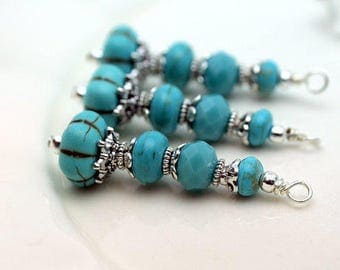 Vintage Style Turquoise Ribbed Melon with Silver Bead Pendant, Necklace Pendant, Earring Dangle, Charm Drop, Jewelry Pendant