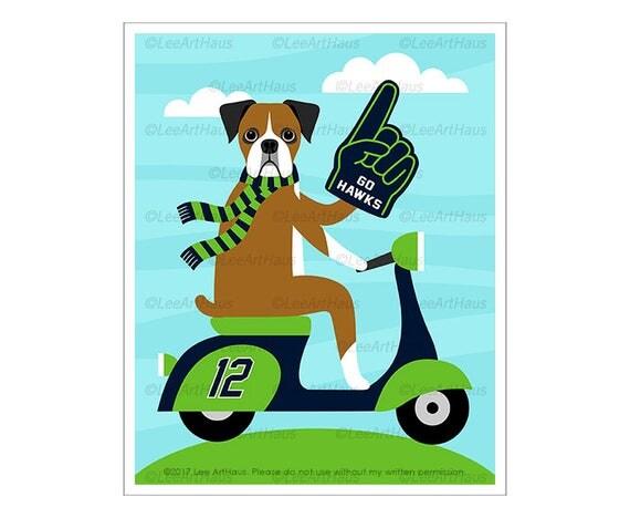 351D Dog Print - Seattle Seahawks Boxer Dog on Vespa Wall Art - Football Dog Print - Boxer Dog Print - Vespa Art - Football Print