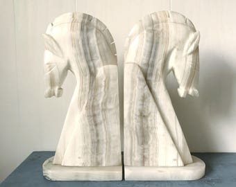 vintage marble bookends - large mid century horse heads - library desk office - white gray