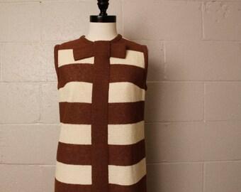 Vintage 1960's Leslie Fay Brown Striped Shift Dress S