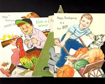 Super fun vintage Thanksgiving greeting cards of boys - lot of four