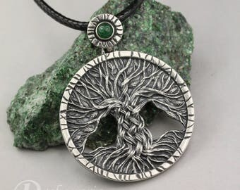 Tree of Life - carved, silver pendant with aventurine, unisex, knotwork tree, celtic tree pendant, green, limited collection, mystical