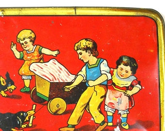 1920's Tin Toy Tea Tray, Children playing with dogs, wagon. Dachshund.