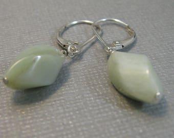 15mm x 8mm amazonite twisted barrel drop earrings, light amazonite and sterling silver dangle earrings