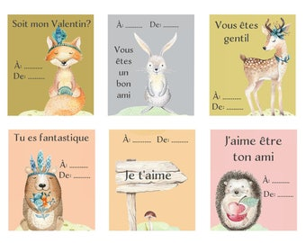 French Valentine set of 6 PRINTABLE ,download, woodland animals, francais, Valentin, kids, les animaux,le foret, kids, lièvre, ours, renard