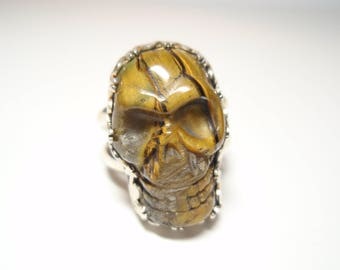 Tigers Claw - Golden Tigers Eye Gemstone Skull Face Hand Made Sterling Silver Ring Size 9