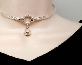 """IN STOCK 13.5"""" Inner Kitten No2 Sterling Silver Symbolic Slave Collar with Textured Chiming Ball and Sterling Silver Focal Clasp"""