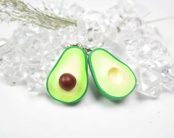 Avocado Earrings, avocado jewelry, food jewelry, food earrings, vegan gift, avocado half charm, miniature food, polymer clay, womens gift