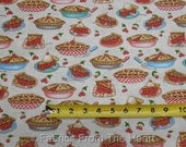 Home Sweet Home Baking Cherry Pies Slice Retro on Tan  BY YARDS QT Cotton Fabric