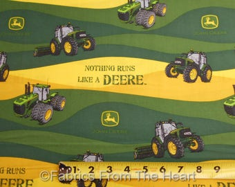 John Deere Nothing runs like a Deere Tractors BY YARDS Springs Cotton Fabric