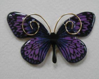 Signed Dalton Purple Butterfly Pin Pendant
