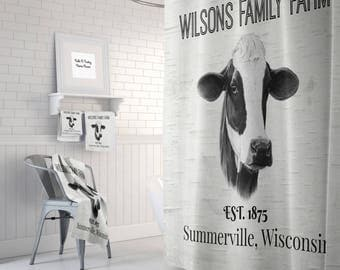 Farmhouse Chic Cow Shower Curtain,  Black and White Custom Personalized, Bath Mat, Bath Towels