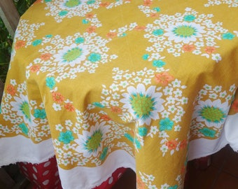 vintage 70s print tablecloth 42x42 inches
