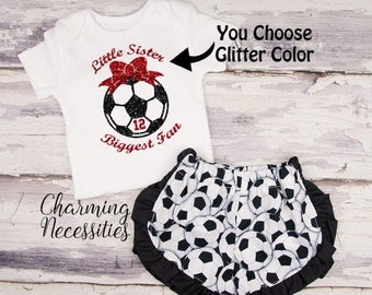 SALE Soccer Sister Top and Ruffled Shorts Set, Soccer Fan, Baby Girl Outfit, Toddler Girl Clothes, Little Sister Biggest Fan Personalized